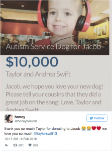 taylor swift, autism donation, service dog, neurodiversity, neurodiverse